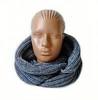 Шарф-снуд(хомут) вязаный цвет серый джинсовый, фото 1