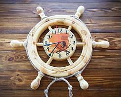 """Деревянные часы Штурвал """"Пиратские"""" 46 см ручной работы. Подарок в морском стиле"""