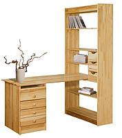 Стол письменный деревянный сосна + шкаф-полки сосна