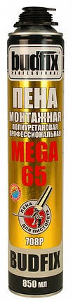 Піна монтажна професійна BUDFIX 708P MEGA 65 850 мл, ТУРЕЧЧИНА, пістолет., фото 2