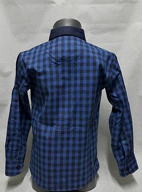 Рубашка кашемировая на мальчиков в клетку Синяя 116,122,128,134 роста, фото 2