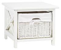 Тумба прикроватная белая с плетеным ящиком, фото 1