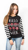 Свитшот батник женский принт Kiss черный p.42-44 N1904