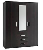 Шкаф 3-х дверный + 3 ящика с зеркалом (цвет венге), фото 1