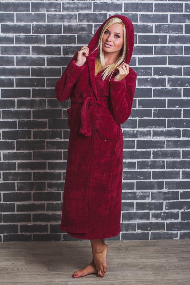 Махровый халат женский длинный бордо