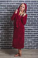 Махровый халат женский длинный бордо, фото 1