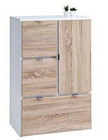 Комод - шкафчик с 3 выдвижными ящиками и дверью, белый дуб, фото 1