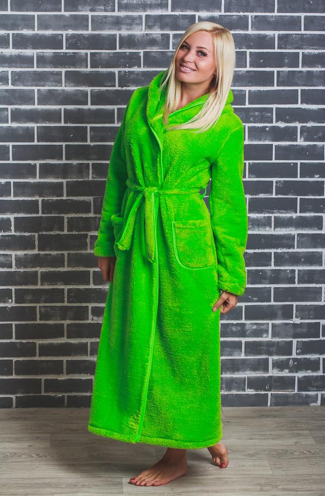 Махровый халат женский длинный салат