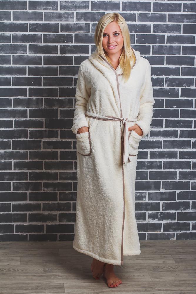 Махровый халат женский длинный молочный