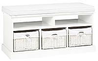 Банкетка в прихожую белая я 3-мя ящиками, фото 1