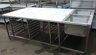 Стол островной технологический с ванными моечными из нержавеющей стали с направляющими