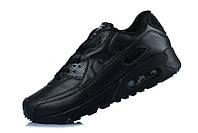 Mужские кроссовки Nike Air Max 90 Чёрные кожанные, фото 1
