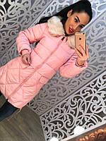 Красивое женское пальтишко теплое с мехом на воротнике