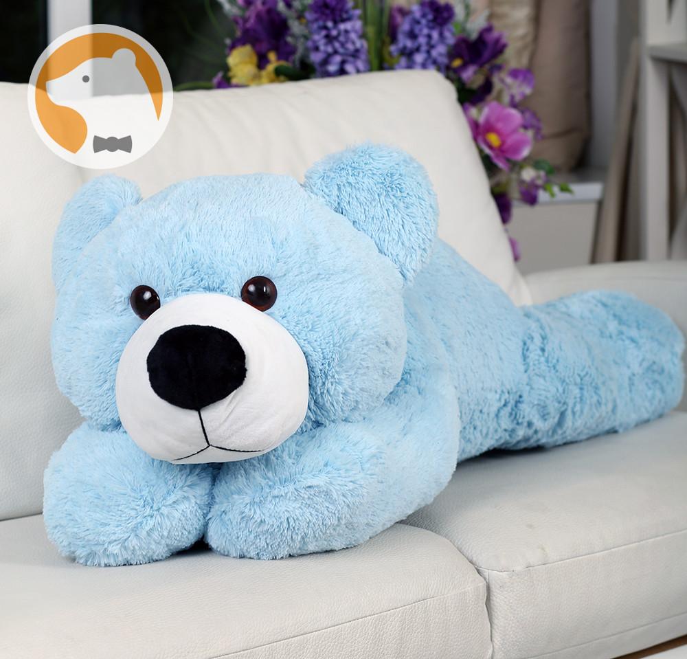 Плюшевый мишка Умка лежащий большой, голубой, 110 см