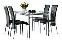 Комплект кухонный мебели ( стол стеклянный 160 см + 4 стула черные), фото 1