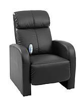 Кресло массажное черное, кожа, фото 1