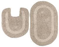Набор мягких ковриков в ванную комнату бежевые, фото 1
