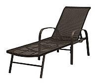 Лежак шезлонг садовый коричневый 62х197см сталь/петан