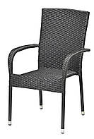 Садовый стул черный стальной и искусственного ротанга