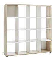 Книжная полка шкаф светлая (16 полок) цвет белый дуб
