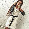 Пальто женское с поясом из экокожи P521