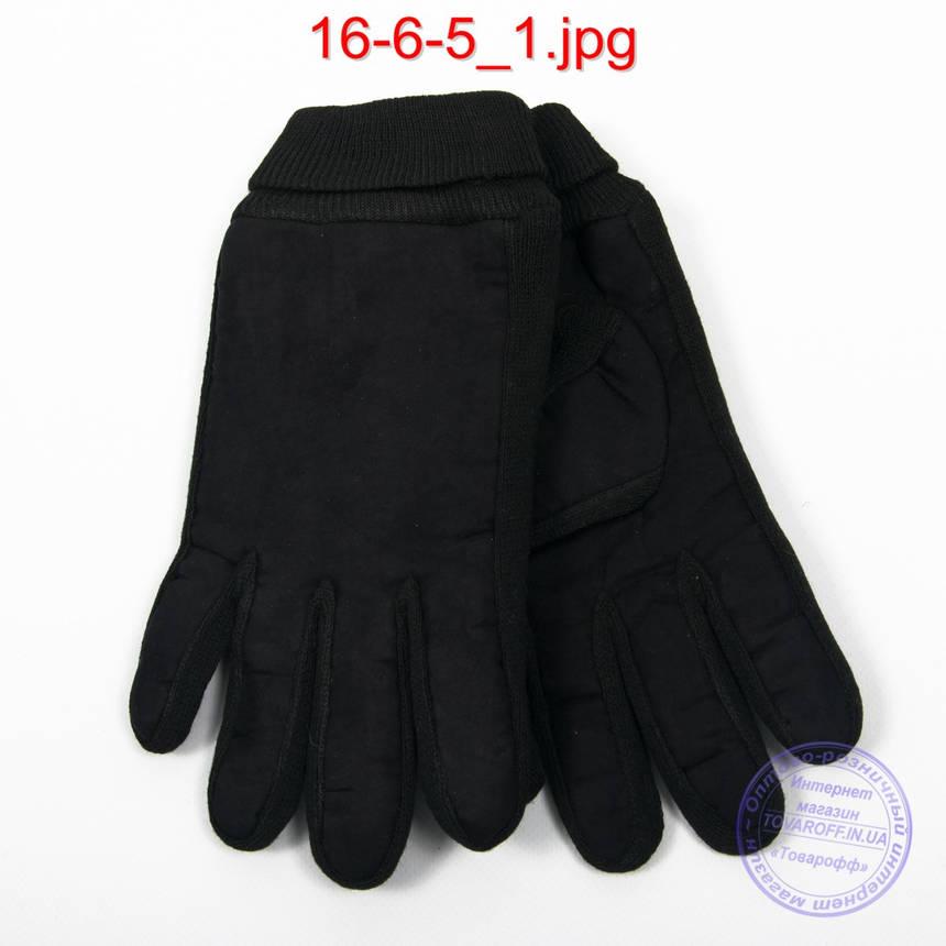 Оптом мужские велюрово-трикотажные перчатки черные - №16-6-5, фото 2