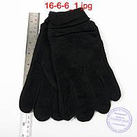 Оптом мужские замшево-трикотажные перчатки черные - №16-6-6