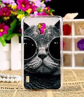 Чехол-накладка для LG L7 II P713 с картинкой Кот в очках
