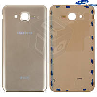 Задняя крышка батареи для Samsung Galaxy J7 J700H / DS, золотистый, оригинал