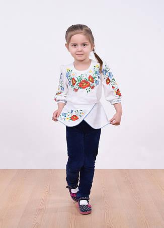 Блуза с баской и цветами рукавом 3/4, фото 2