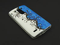 Чехол Diamond TPU для LG Optimus G3s D724 бело синий принт