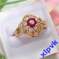 Кольцо Нат.Рубин 5мм,8 Сапфиров-18 р-375 пр-ИНДИЯ