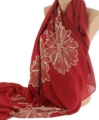 Элегантная женская шаль180х110 см. Traum 2494-54, бордовый