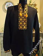 Чоловіча сорочка-вишиванка, на чорному льоні, 48-50 розміру.