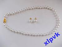 Набор Ожерелье и серьги.Белый жемчуг-ААА-8 мм-925 проба-№2-Австралия