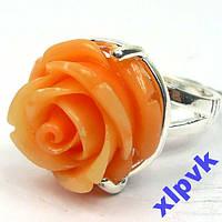 Кольцо Оранжево-Розовый Коралл, Роза-18р-925-ИНДИЯ