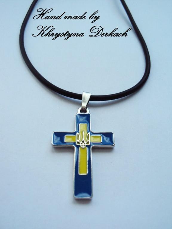 Подвеска кулон хрест патріот Україна шнур каучук