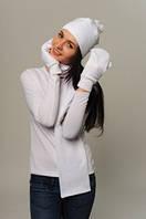 Комплект женский: шапка, шарф, варежки