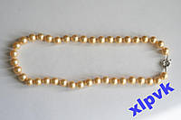 Ожерелье Золотистый Жемчуг 10 мм-18k GP-Австралия