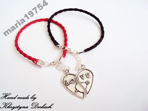 Браслет сердце пара половинки любовь браслеты для двоих влюбленных