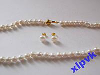 Ожерелье+Серьги Белый Жемчуг Akoya -8мм-Австралия