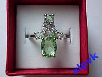 Кольцо 4 Зелен Аметиста- Празиолита,18р-925-ИНДИЯ