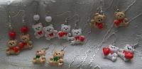 Серьги , сережки Мишка , Ведмедики