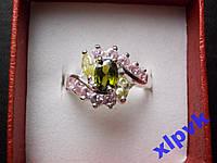 Кольцо Хризолит,Лимонный и Роз.Топазы-18.3 р-ИНДИЯ