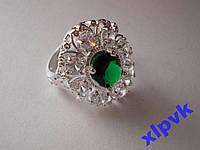 Кольцо Красивый изумруд 10 х 8 мм-18.5 р-925-ИНДИЯ- SUPER