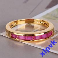 Кольцо 6 Роз.Рубинов,Принцессы -18.3р-22к GF-ИНДИЯ