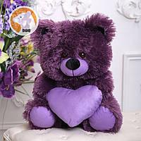 Плюшевый медвежонок с сердцем, 65 см, фиалковый