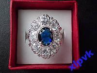 Кольцо Шикарный синий сапфир 10х8мм-18.8 р-925-ИНДИЯ- SUPER