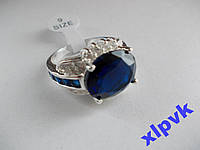 Кольцо 9 синих сапфиров.Овал 14 х 12 мм,8 -по 2 х 2 мм-18р-925-ИНДИЯ