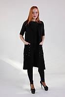 Осенний женский жилет из вязаного трикотажа в черном цвете